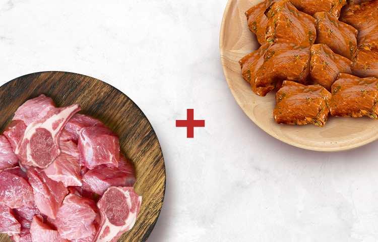 Mutton Curry Cut 500g & Chicken 65 Boneless 250g