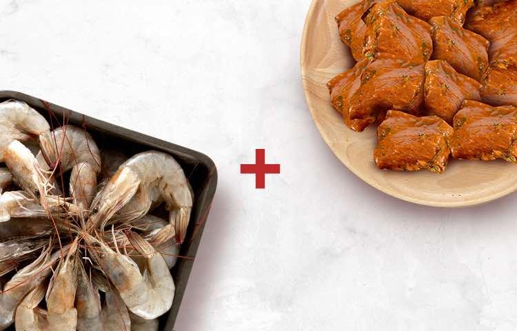 Prawn Medium 500g & Chicken 65 Boneless 250g
